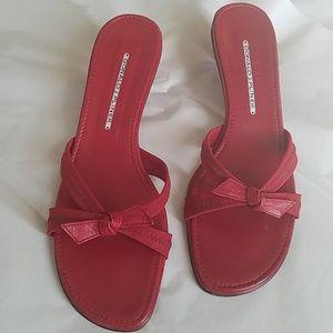 Donald J. Pliner Red Bow Slip On Sandal Heels EUC